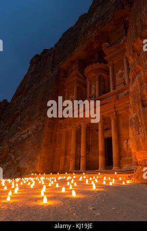 The Treasury, Petra By Night. An Ancient City of Petra, Al Khazneh in Jordan - Stock Photo