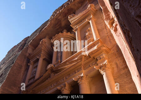 Close up of the Treasury during sunrise, an ancient building in Petra, Jordan - Stock Photo