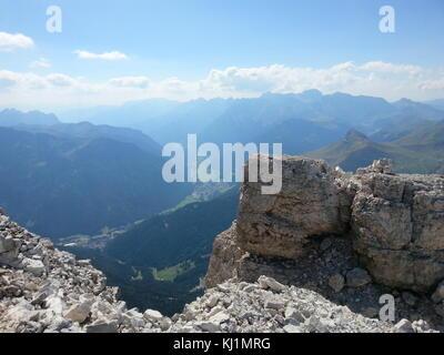 Passo Pordoi, Italian Dolomites in summer - Stock Photo