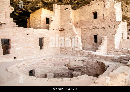 Spruce Tree House, cliff dwelling habitat ruins of the Anasazis Indians in Mesa Verde National Park - Stock Photo