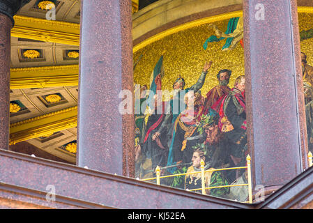 Siegessaule Berlin, colourful mosaic at the base of the Siegessaule column depicting Prussian military victories, - Stock Photo