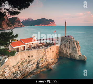 Old fortress on cliff top in Petrovac, Montenegro. - Stock Photo