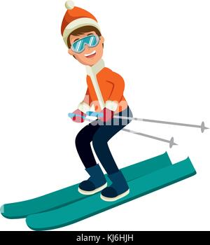 young man skiing with winter clothes - Stock Photo