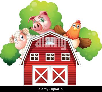 Illustration of a sheep, a pig and a chicken hiding at the back of a barn on a white background - Stock Photo