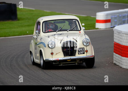 1957 Austin A35 driven by Adam Morgan owned by James Colburn racing in St Mary's Trophy at the Goodwood Revival - Stock Photo