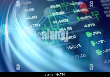 Economics background, business, financial, economy concept. Economics collage: stock market chart, financial data - Stock Photo