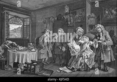 Engraving on paper, titled 'Marriage A-La-Mode, Plate VI, The Lady's Death', the Countess poisons herself, after - Stock Photo