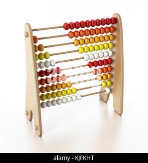 Abacus with multi colored beads isolated on white background. 3D illustration. - Stock Photo