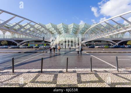 Gare do Oriente (Orient Station), a public transport hub. Designed by Santiago Calatrava in neo-gothic style. Parque - Stock Photo