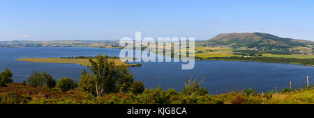 Panoramic view across Loch Leven to the Lomond Hills from the slopes of Benarty Hill, Perth and Kinross, Scotland - Stock Photo