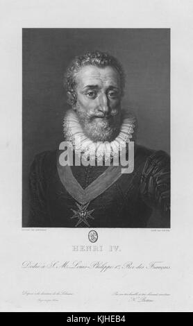 Engraved portrait of King Henry IV of France, known as 'Good King Henry', was King of Navarre (as Henry III) from - Stock Photo