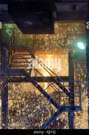 Molten Metal Pouring Out Of Furnace in Steel plant - Stock Photo