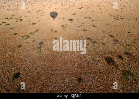 An early morning hot air balloon flight over the African savanna. Balloon shadow.  Masai Mara game reserve. Kenya. - Stock Photo