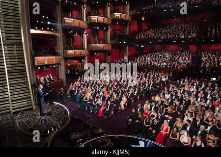 HOLLYWOOD, CA - FEBRUARY 28: Lady Gaga performs during the live ABC Telecast of the 88th Annual Academy Awards at - Stock Photo