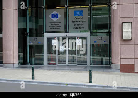 The entrance of the EU building with the seat of the European Committee of the Regions and the European Economic - Stock Photo