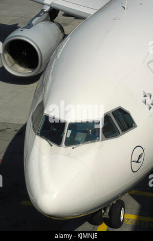 Rolls-Royce Trent 772B-60 engine intake and windshield on the Lufthansa Airbus A330-300 - Stock Photo