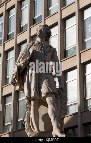 Statue of the  Flemish Baroque artist Antoon van Dyck in Antwerp, Belgium. The sculpture, on the Meir, depicts Sir - Stock Photo