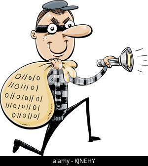 A cartoon of a thief with a sack full of data and holding a flashlight. - Stock Photo