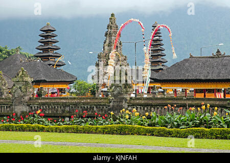 Pura Ulun Danu Beratan / Pura Bratan, Shaivite water temple on the shores of Lake Bratan near Bedugul, Bali, Indonesia - Stock Photo