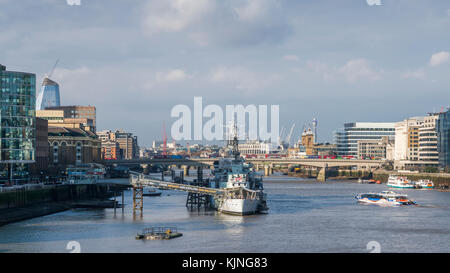 Panorama of River Thames with HMS Belfast, London, UK. Taken from Tower Bridge - Stock Photo