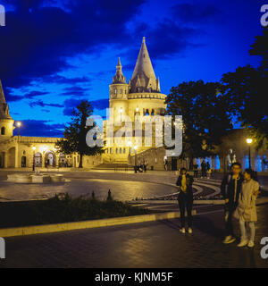 View of the Halaszbastya (Fisherman's Bastion) in Budapest (Hungary) at night. June 2017. Square format. - Stock Photo