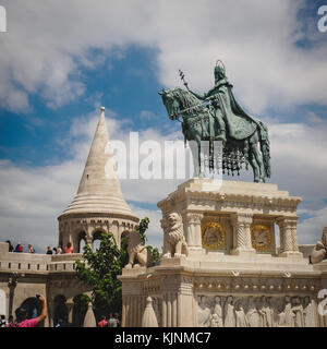 Statue of St. Stephen and the Fisherman's Bastion in Budapest (Hungary). June 2017. Square format. - Stock Photo