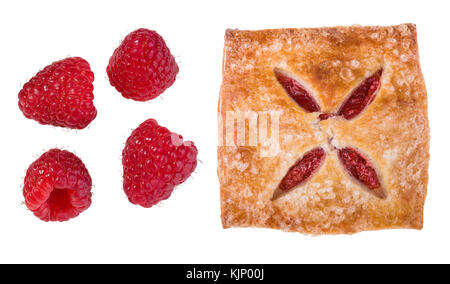Group of four raspberries and filled pastry. Fragrant sweet snack and fresh fruit isolated on white background. - Stock Photo