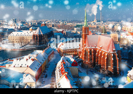 Aerial view of Wroclaw in the winter morning - Stock Photo