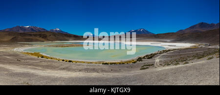 Photo taken in August 2017 in Altiplano Bolivia, South America: Panorama Laguna Verde Altiplano Bolivia - Stock Photo