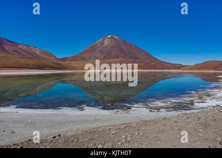 Photo taken in August 2017 in Altiplano Bolivia, South America: Laguna Verde Altiplano Bolivia - Stock Photo