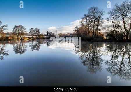Valebridge Pond in Bedelenads Nature Reserve near Burgess Hill, West Sussex - Stock Photo