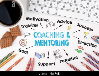 Coaching and Mentoring Concept. Chart with keywords and icons. White office desk - Stock Photo