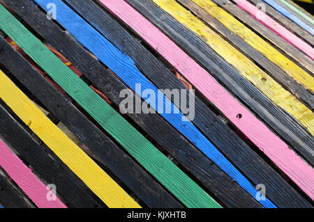 Colourful base of traditional wooden Irish currach - Stock Photo