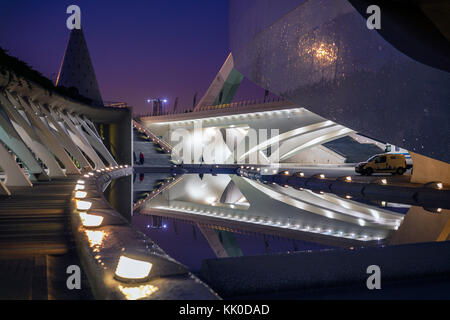 Early evening, Opera House (El Palau de les Arts Reina Sofia), City of Arts and Science, Valencia, Spain. - Stock Photo