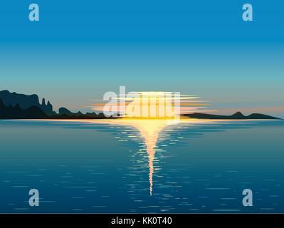 Landscape at sunset, vector illustration - Stock Photo