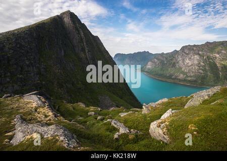 Hiking on Husjellet, Senja Island Norway. - Stock Photo