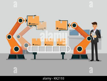 Bussinessman using tablet to control automation robot arm machine in smart factory industrial. vector illustration - Stock Photo