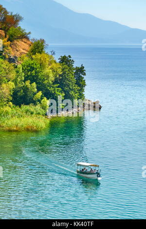 Tourist boat on the Ohrid Lake, Republic of Macedonia, Balkans - Stock Photo