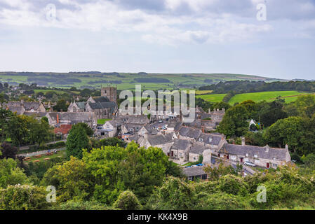 View of Corfe medieval village and countryside in England - Stock Photo