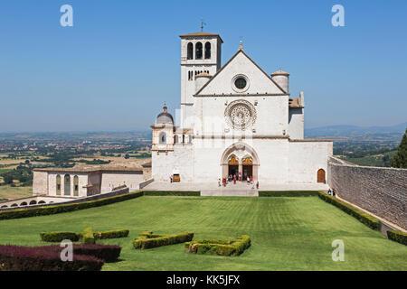 Assisi, Perugia Province, Umbria, Italy. Basilica di San Francesco. Basilica of Saint Francis. Basilica Papale di - Stock Photo
