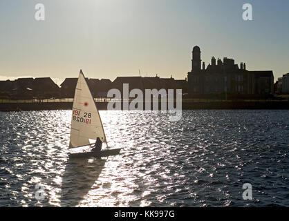 Sailing dinghy, Hartlepool marina, County Durham, England UK - Stock Photo