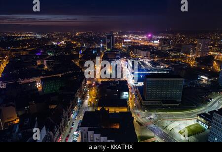 Aerial drone view of Katowice at night. Silesia, Poland - Stock Photo