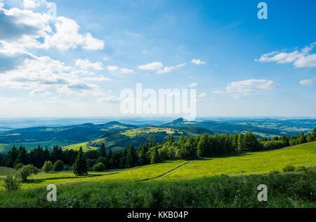 View from Wasserkuppe, nature park Park Hessische Rhön, Hesse, Germany - Stock Photo