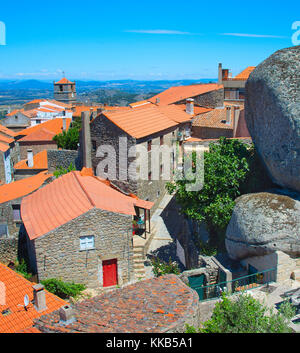 Overlooking of Monsanto village, Portugal. This village is famous for its stone houses. - Stock Photo