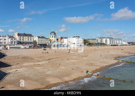 Beach and promenade from Worthing Pier, Worthing, West Sussex, England, United Kingdom - Stock Photo