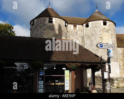 Castle of Dourdan and tourist office, Essonne, Ile-de-France, France, Europe - Stock Photo