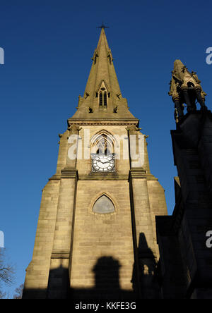 Church clock tower at Church of St Mary the Virgin in bury lancashire - Stock Photo