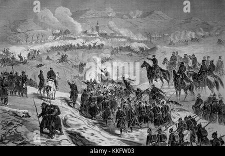 Battle of Champagne and Abre-l'Eveque borne Le Mans on January 11th, France, Franco-German War 1870/71, Franco-Prussian - Stock Photo