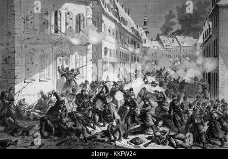 Street fight in Le Mans on January 12th, France, Franco-German War 1870/71, Franco-Prussian War or Franco-German - Stock Photo