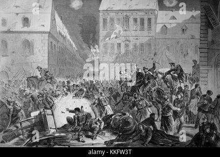 Fleeing the French from Le Mans on the evening of 12 January, France, Franco-German War 1870/71, Franco-Prussian - Stock Photo